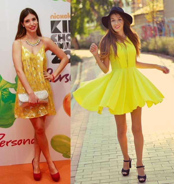 vestido amarillo con zapatos