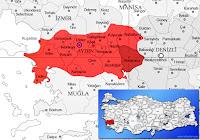 Karacasu ilçesinin nerede olduğunu gösteren harita