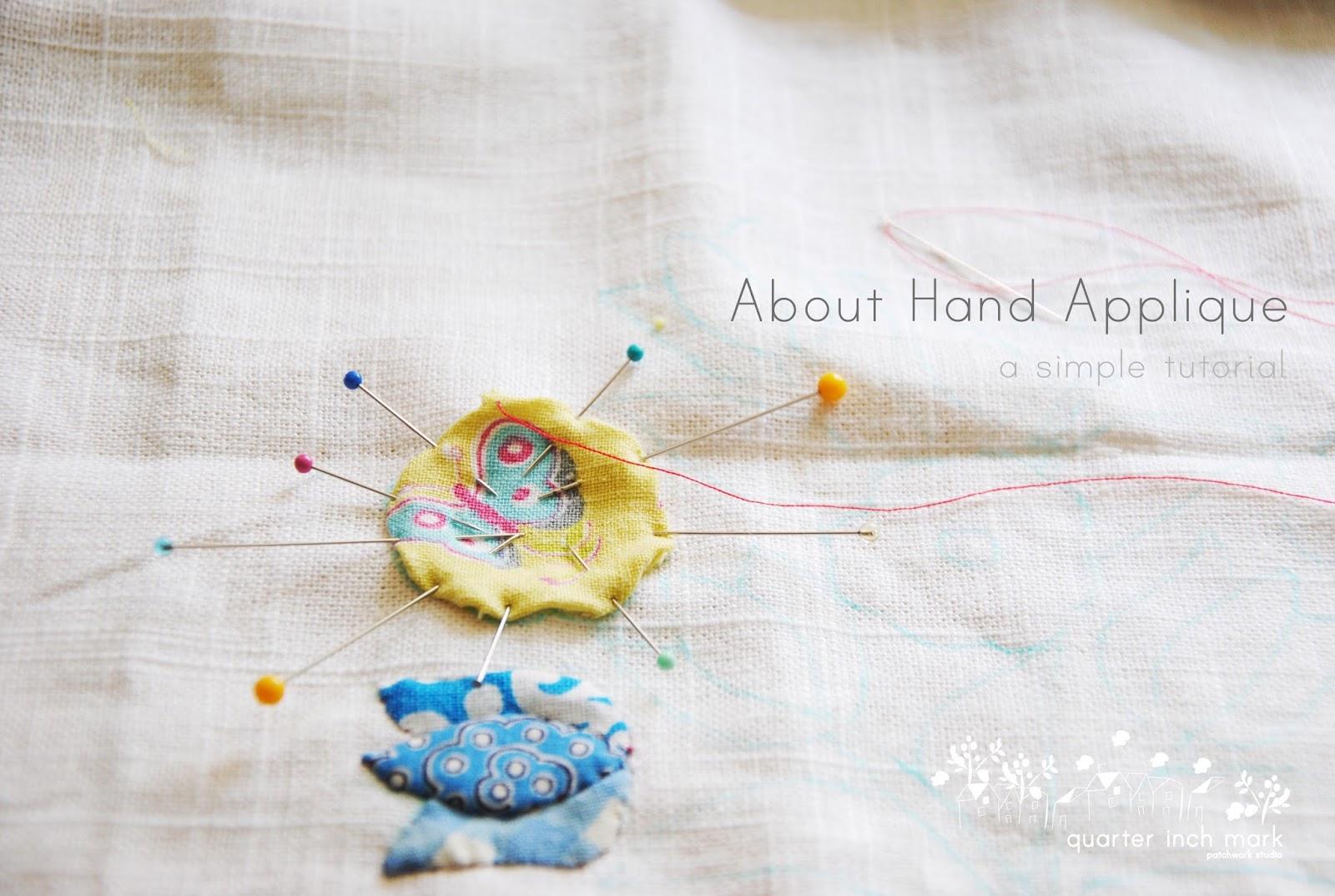 Organza cream saree with handwoven digital print hand applique