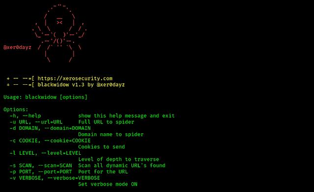 BlackWidow help menu on Kali Linux