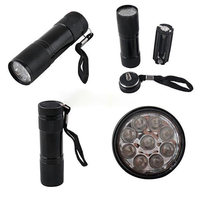 Lanterna UV cu 9 led-uri. Lanterna UV ultravioleta numismatica pt verificat bancnote Utilizeaza 3 baterii AAA neincluse in pret.