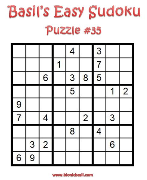 Basil's Easy Sudoku Puzzle #35 Brain Training with Cats ©BionicBasil® Downloadable Puzzle Fur Purrsonal Use Only