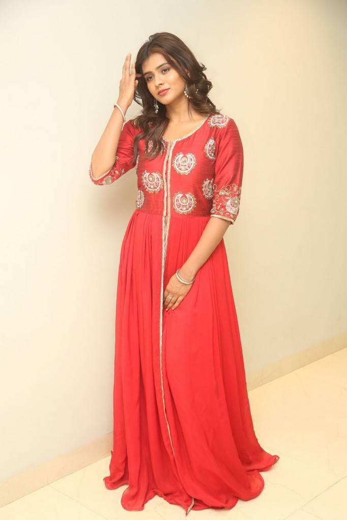 Tollywood Actress In Red Dress At Movie Trailer Launch Hebah Patel