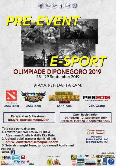 Pre-Events E-Sports Olimdipo 2019 Untuk Umum di Jawa Tengah