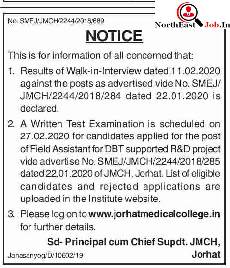 JMCH Jorhat Results for Written Test for Post Field Assistant