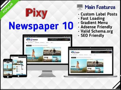 Pixy Newspaper 10 - Responsive Blogger Template