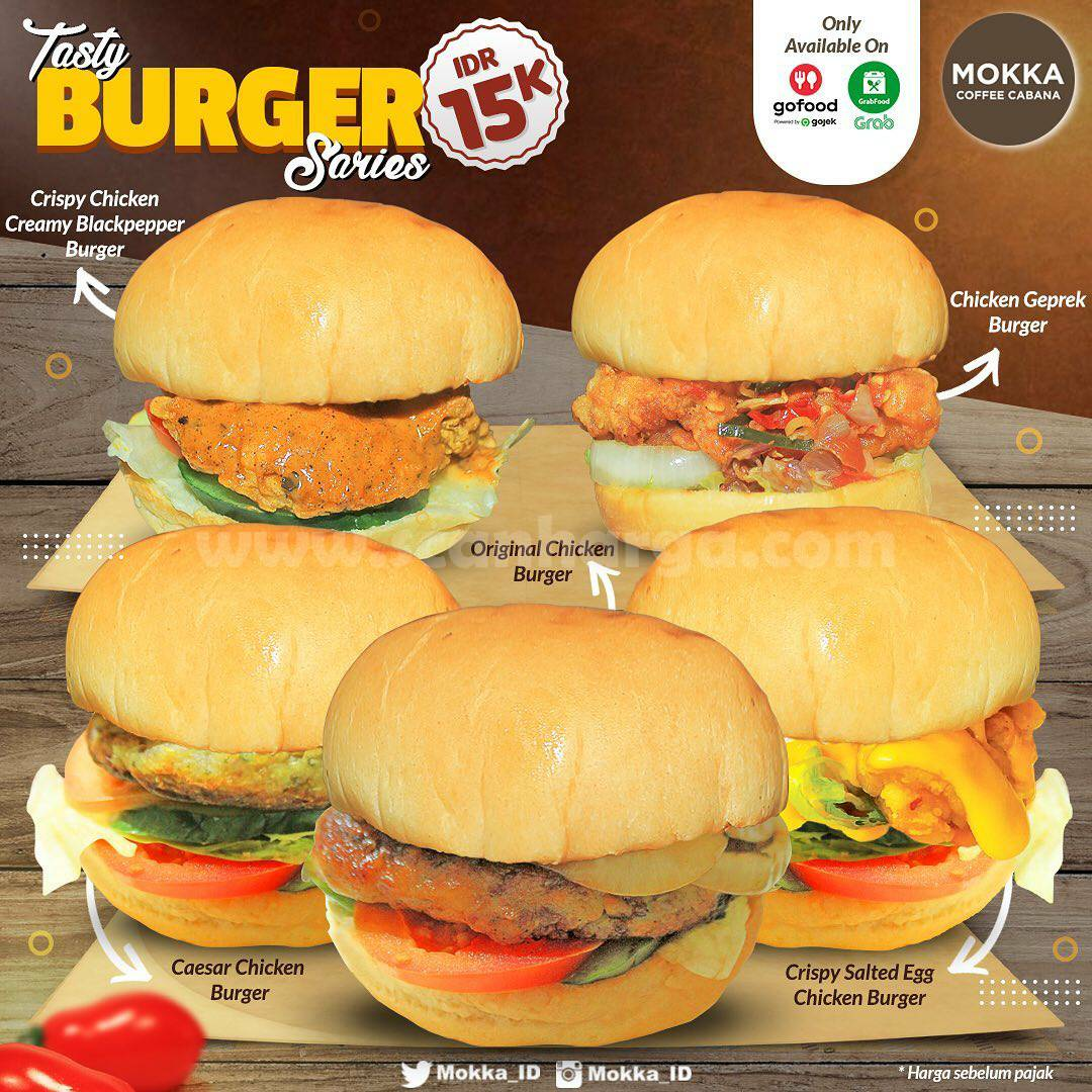 Mokka Coffee Cabana Promo Tasty Burger Series cuma 15K via GoFood & GrabFood