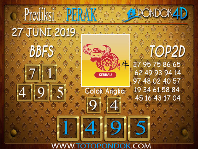 Prediksi Togel PERAK PONDOK4D 27 JUNI 2019