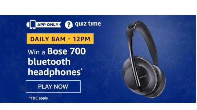 Amazon Bose 700 BlueTooth headphones Quiz Answers - Today 10th April 2020