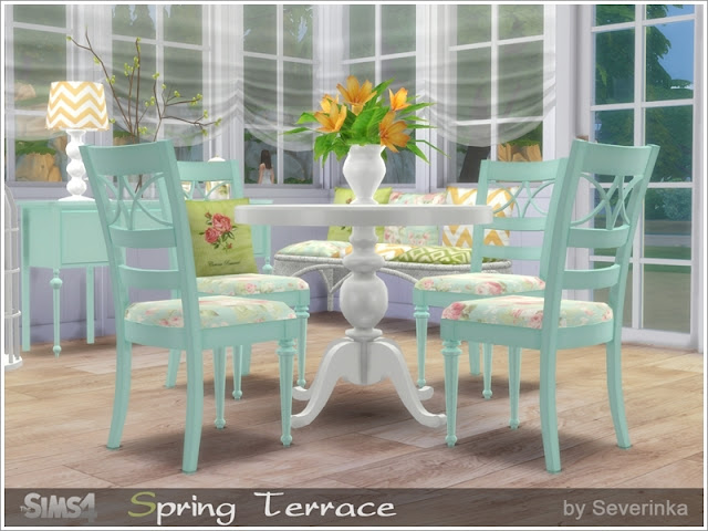 Spring Terrace Весенняя терраса для The Sims 4 Устанавливайте строительные объекты, мебель и декор для оформления террас, веранд или столовой, нежных светлых тонов в потертом стиле. В набор входят 14 предметов: - окно на террасу - дверь на террасу - обеденный стол - Обеденный стул - обеденный стул с подушкой - консольный стол - плетеный диван - подушки для плетеного дивана - шторы - настольная лампа - полка - лилии - декоративная клетка для птиц (2 варианта) Автор: Severinka_