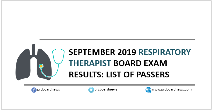 RESULT: September 2019 Respiratory Therapist RT board exam list of passers