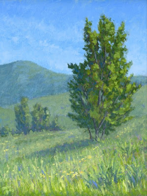 art painting landscape spring nature green open space