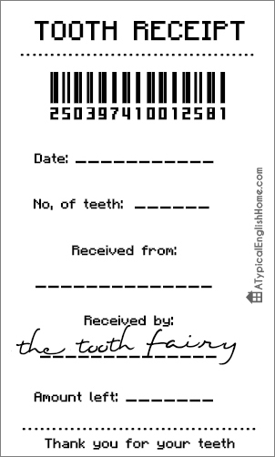 A typical english home free tooth fairy receipt template for Free printable tooth fairy letter template