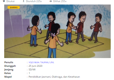 Download RPP Daring PJOK Kelas 1 SD