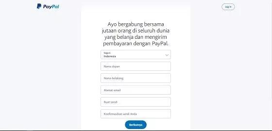 Isi data pribadi saat akun PayPal