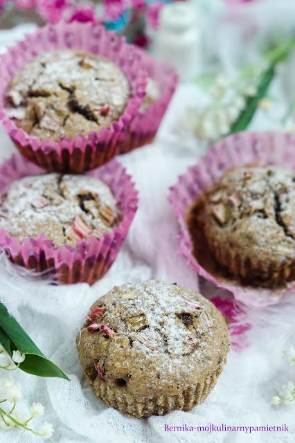 Rabarbar, muffinki, bez glutenu, bez cukru, ciasto, bernika, kulinarny pamiętnik , babeczka