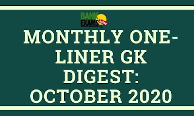 Monthly One-Liner GK Digest: October 2020