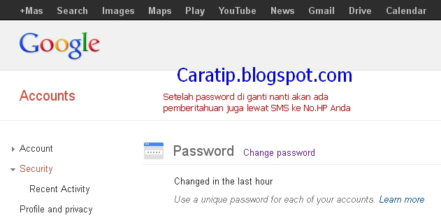 cara mengganti password google