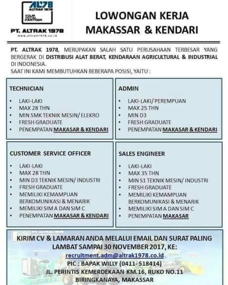 Lowongan Kerja Di Pt Altrak 1978 Deadline 30 11 2017 Makassar