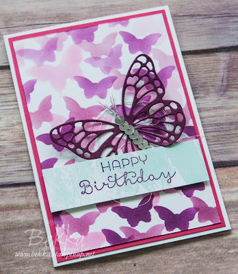 Blackberry Bliss Butterfly Birthday Card made by Bekka Prideaux Independent Stampin' Up! Demo in the UK