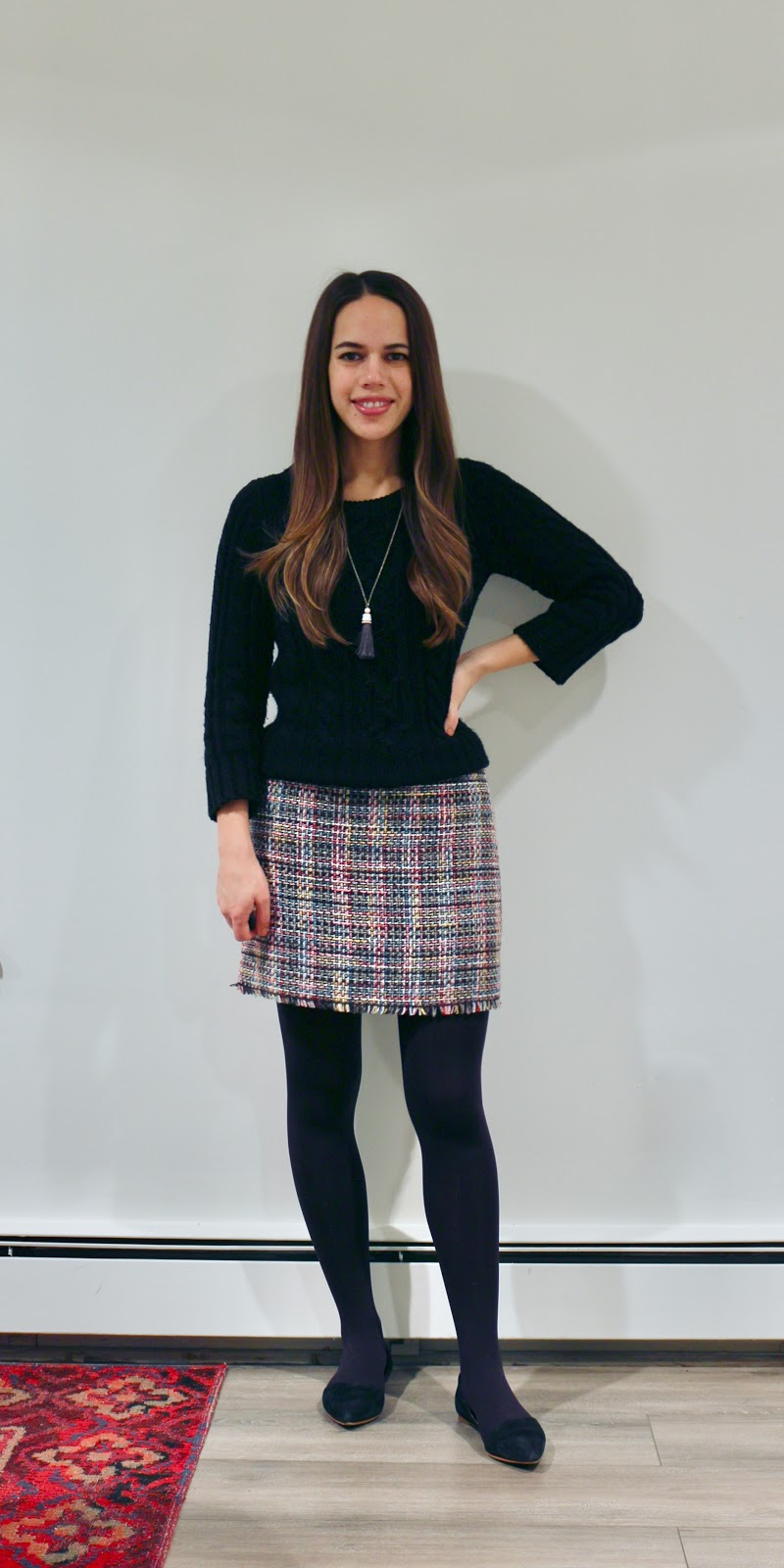 Jules in Flats - H&M Jacquard Tweed Mini Skirt with Cable Knit Sweater (Business Casual Winter Workwear on a Budget)
