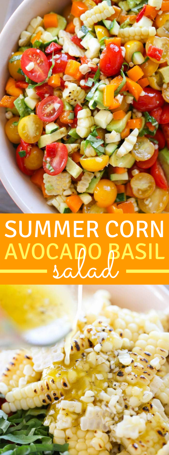 SUMMER CORN AVOCADO BASIL SALAD #vegetarian #vegan