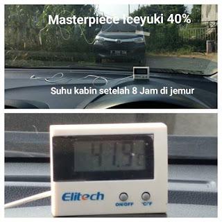 analisa suhu kabin mobil memakai kaca film masterpiece