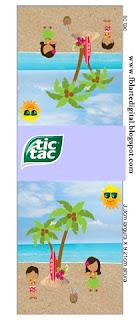 Etiqueta Tic Tac para imprimir gratis de  Fiesta Hawaiana de Chicas.