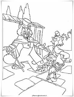 gambar sketsa pinokio,kucing,dan rubah jahat