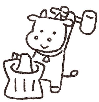 餅つきをする牛のイラスト(丑年・白黒線画)