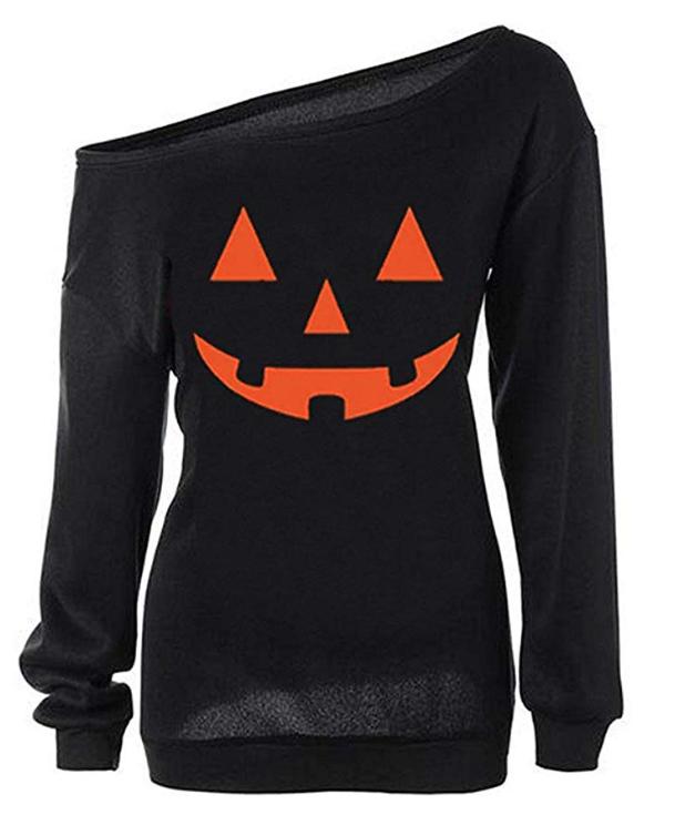 Women's Off-the-Shoulder Jack-O-Lantern Sweater