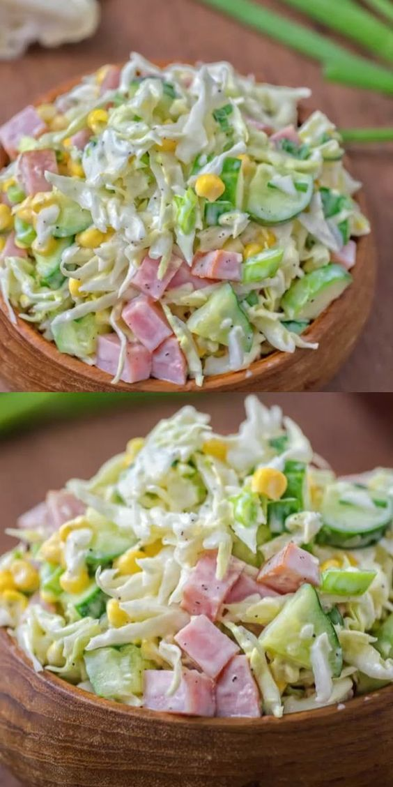 CABBAGE AND HAM SALAD #recipes #dinner ideas #dinnerideasfortonight #food #foodporn #healthy #yummy #instafood #foodie #delicious #dinner #breakfast #dessert #lunch #vegan #cake #eatclean #homemade #diet #healthyfood #cleaneating #foodstagram