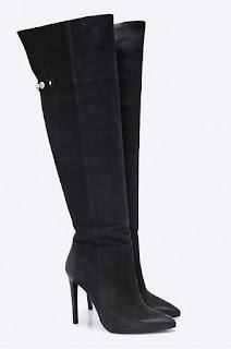 Cizme negre de firm elegante de dama de iarna cu toc inalt din piele naturala intoarsa