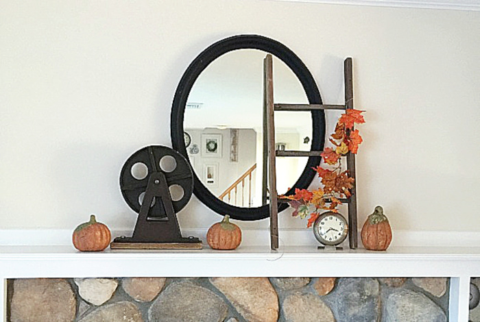 fall mantel with neutral colors