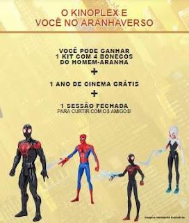 Cadastrar Promoção Kinoplex e Você No Aranhaverso 1 Ano Cinema Grátis Bonecos