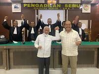 Menghadiri Sidang Daring MK dari Pengadilan Semu FH UNA, Paslon Surya - Taufik Menang