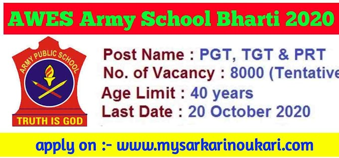 AWES Army Public School Recruitment 2020-21 Apply Online