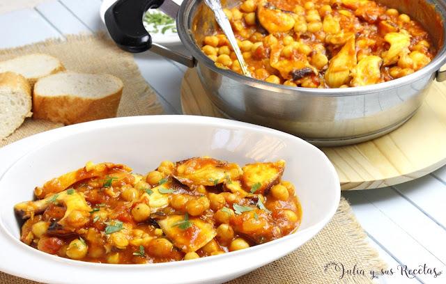 Garbanzos con pupo y tomate frito. Julia y sus recetas