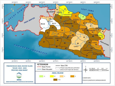 Perbandingan awal musim hujan di Jawa Barat tahun 2019-2020. Sumber : BMKG.
