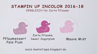 Farbvergleich Stampin' Up Incolor 2016-18, color comparison zarte pflaume sweet sugarplum