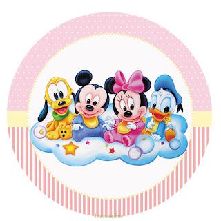 Bebés Disney en Rosa: Wrappers y Toppers para Cupcakes para Imprimir Gratis.