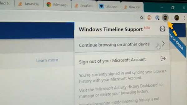 How to add existing Timeline feature in Windows 10 to your browser to view all open Windows on it