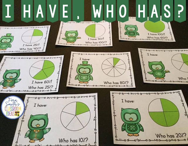 Using I Have, Who Has? Cards for Reviewing Fractions on Your State Standardized Tests. Fern Smith's Classroom Ideas.