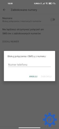 Dodawanie numeru do blokowanych