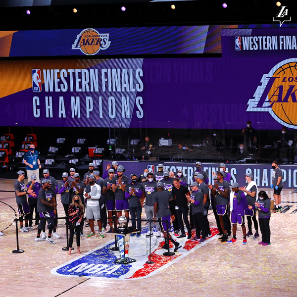 The Los Angeles Lakers are presented the conference championship trophy after defeating the Denver Nuggets, 117-107, in Game 5 of the NBA Western Conference Finals at Florida's Walt Disney World...on September 26, 2020.