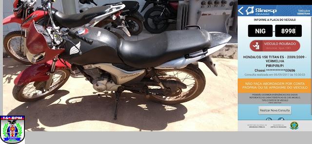 Moto roubada no `Piauí é recuperada pela PM de Brejo (MA)