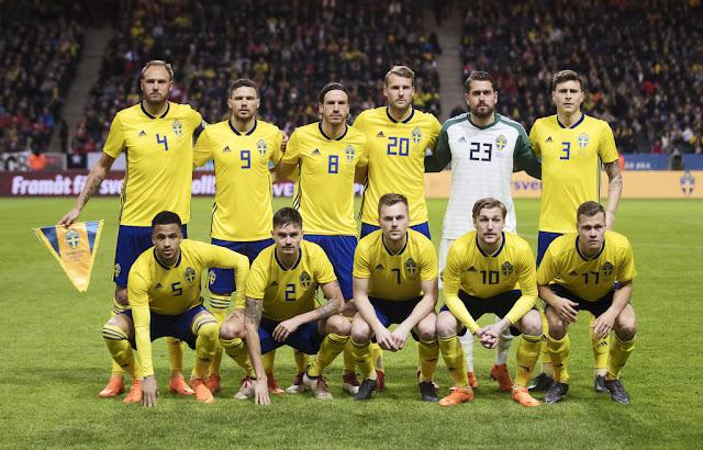 Formación de Suecia ante Chile, amistoso disputado el 24 de marzo de 2018