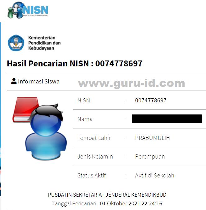 gambar cetak NISN Online 2021