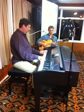 Our April Guest Artists, Mark Shiloh (piano) and Max Brown (electric guitar).