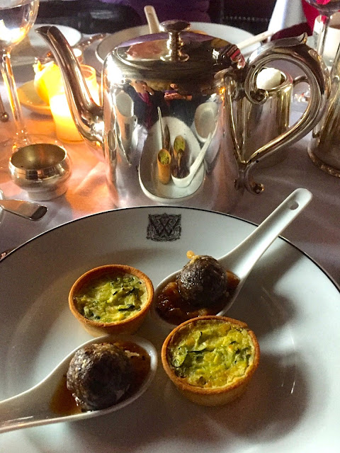 Savoury plate and teapot for afternoon tea in The Witchery by the Castle, Edinburgh